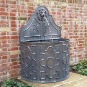 Lead Lion's Head 4 Panel English Fountain w:curved basin